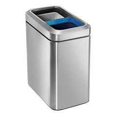 simplehuman 20 Liter / Gallon Commercial Stainless Steel Slim Open Trash Can Dual Compartment, Brushed Stainless Steel Trash And Recycling Bin, Recycle Cans, Plastic Buckets, Trash Bag, Brushed Stainless Steel, Cleaning Wipes, Canning, Slim, Separate