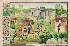 """plac budowy baraczków dla robotników - będzie """"średniowieczna regotyzacja"""" zamku :) - XV wiek, Burgundia"""