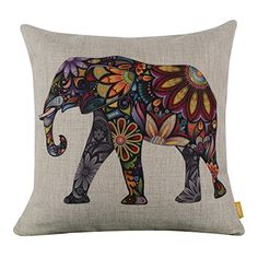 """LINKWELL 18"""" x 18"""" Bright Color Flower Elephant Burlap Pillow Cases Cushion Covers LINKWELL http://www.amazon.com/dp/B00SD7JIIM/ref=cm_sw_r_pi_dp_N-NFvb1Z25RDN"""