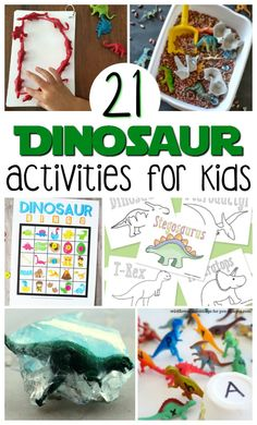 Check out this list of 21 Easy Dinosaur Activities For Kids that not only celebrate colossal creatures, but also entertain and educate children. There's everything from bingo, letter matching, and coloring, to all sorts of sensory activities and crafts. Dinosaur Games, Dinosaur Activities, Dinosaur Crafts, Sensory Activities, Preschool Activities, Sensory Bins, Dinosaur Party, Dinosaur Classroom, Dinosaur Dinosaur