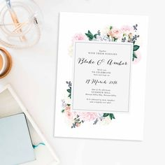 Pastel Floral Wedding Invitations – Berries by Sail and Swan Rose Vintage Botanical Wedding Invites Pink Rose Dahlia Wedding Invitations Australia Pretty Pale Pastel Pink Sydney Perth Melbourne Brisbane pink rose blush pink flower