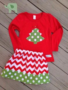 Chevron and Dot Lucy Skirt & Matching Long Sleeve shirt with Christmas Tree Appliqué on Etsy, $32.50
