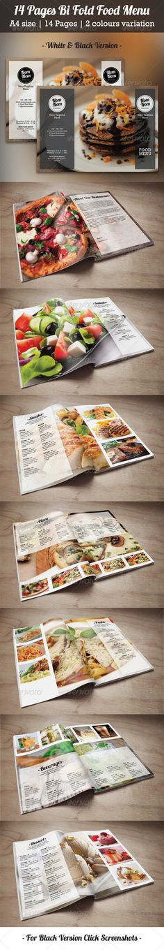 14 Pages Bi Fold Food Menu Template #design #speisekarte Download: http://graphicriver.net/item/14-pages-bi-fold-food-menu/8101125?ref=ksioks