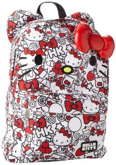 NWT Loungefly Hello Kitty Red White All Over Backpack w Ears   Plush Red Bow 62486517dc86d