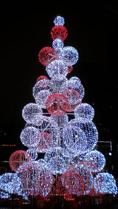 Light tree in Market Square at Christmas, Pittsburgh, Pennsylvania