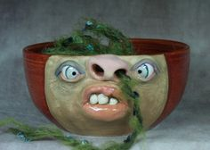 yarn bowls with faces | CERAMIC YARN BOWL - Wheel thrown, hand altered and sculpted. Just a ...