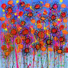 Flowers 3 by Paul Megens Colorful Artwork, Greeting Cards, Wall Art, Flowers, Painting, Painting Art, Paintings, Royal Icing Flowers, Painted Canvas