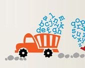 Alphabet Construction Dump Truck Digger Boys ABC Kids Vinyl Wall Decal Sticker