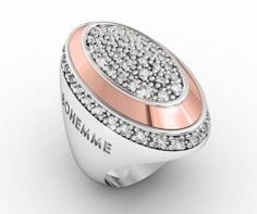 925 Sterling Silver Ring Pink 18k. Gold CZ White. #bohemme #jewelry #glamour #ring #fashion #gold