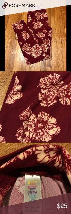 Maroon and Cream Floral LuLaRoe Leggings One size LuLaRoe leggings Maroon and cream floral print Worn once and washed per LLR standards,in great condition LuLaRoe Pants Leggings