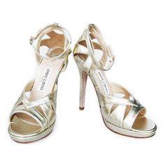 Jimmy Choo Kenzie Metallic Leather Sandals Light Gold