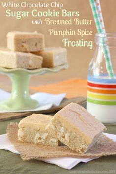 White Chocolate Chip Sugar Cookie Bars with Browned Butter Pumpkin Spice Frosting Recipe on Yummly. @yummly #recipe