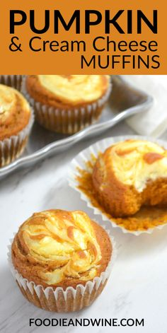 Easy Pumpkin Cream Cheese Muffins - Ready In Just 30 Minutes. In the event that You Love Fall Recipes This Pumpkin Muffin Recipe Is Perfect Moist And Flavorful Loaded With Pumpkin, Cream Cheese And Fall Spices. More Pumpkin Recipes At Pumpkin Cream Cheese Muffins, Pumpkin Muffin Recipes, Pumpkin Cream Cheeses, Easy Pumpkin Desserts, Cheese Pumpkin, Pumpkin Cheesecake Muffins, Recipes With Canned Pumpkin, Easy Pumpkin Muffins, Pumpkin Creamcheese Recipe