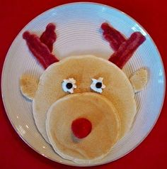 Great for the kids - Pancakes, bacon, strawberry nose, a little whipped cream and a couple chocolate chips.  Love it christmas morning breakfast, chocolate chips, christma morn, christmas eve, reindeer pancak, whipped cream, pancake breakfast, christmas breakfast, kid