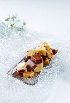 Fudget | K-ruoka #joulu Fudge, Camembert Cheese, Panna Cotta, Waffles, Sweets, Candy, Snacks, Cookies, Chocolate