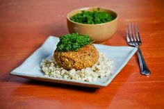 Red Lentil Burgers with Kale Pesto