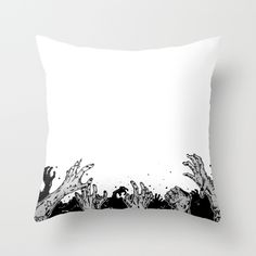 Throw Pillow - Zombie hands by PurpleMatter