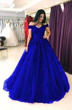 Elegant Dark Blue Appliques Formal Evening Dress Evening Dresses With Appliques, Evening Dresses Blue, Dark Blue Evening Dresses Evening Dresses Dresses Elegant, Sweet 16 Dresses, Pretty Dresses, Blue Evening Dresses, Prom Dresses Blue, Royal Blue Dresses, Wedding Dresses, Evening Gowns, Blue Quinceanera Dresses