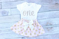 Pink and Gold First Birthday Outfit, Girls Birthday, Baby twirl skirt by NylaMarieKids on Etsy https://www.etsy.com/listing/240589268/pink-and-gold-first-birthday-outfit