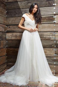 ivy aster bridal spring 2017 cap sleeves off shoulder aline wedding dress (cumberland) fv overskirt