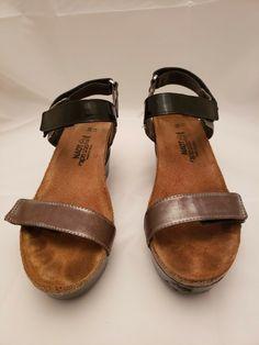b66d6c14de6c Naot Miracle Gray Lizard Metallic Brown Black Patent Leather Wedge Women Sz  38 7