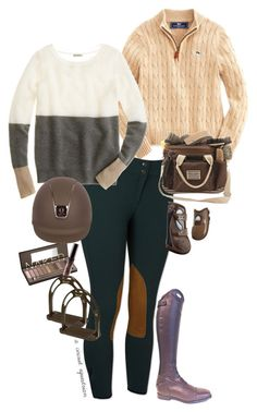"""fall neutrals for end of summer;("" by a-circuit-equestrian on Polyvore featuring Vineyard Vines, Urban Decay, Parlanti and J.Crew"