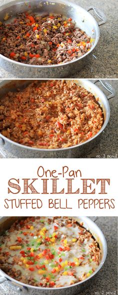 One-Pan Skillet Stuffed Bell Peppers, even the rice cooks in the same pan!