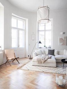"Tour A Modern Minimalist Apartment in Vienna - Rug from Touda , Sofa ""Richard"" by B&B Italia . Minimalist Apartment, Minimalist Living, Minimalist Decor, Modern Minimalist, Modern Living, Living Room Designs, Living Room Decor, Living Spaces, Living Rooms"