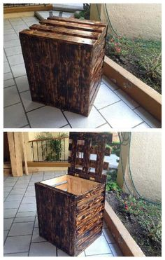Laundry storage made with pallets and a flamed wood finish. Laundry storage made with pallets and a flamed wood finish. Pallet Furniture Plans, Pallet Furniture Designs, Diy Furniture, Furniture Projects, 1001 Pallets, Recycled Pallets, Wooden Pallets, Pallet Barn, Pallet Boxes