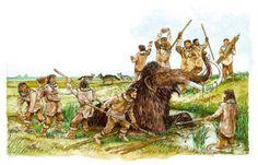 Hier zie je de jagers op jacht. Ze proberen een mamoet te vangen met een val en hun speren. Ze hebben een val gemaakt om de mamoet in te laten vallen en makkelijk kunnen te doden. Ze hebben de jacht nodig om zich zelf te kunnen voeden, dit is dus een gedeelte van hun economie
