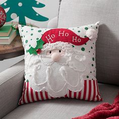 Add a little character to your Christmas decor with our Santa Character Pillow. You'll love his beard, nose, and hat tip details and wooly hat band! Christmas Cushions, Christmas Pillow, Christmas Crafts, Christmas Ornaments, Christmas Shirts, Diy Pillows, Decorative Throw Pillows, Cushion Cover Designs, Holiday Crafts