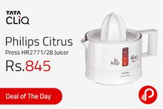 TataCliq is offering Philips Citrus Press HR2771/28 Juicer Just at Rs.845. The Philips HR2771/28 Citrus Press is designed with a double cone to extract juice from various fruits and vegetables. Its drip stop minimizes wastage from dripping when you pour the juice from the sprout. Volume indication, Easy to pour and clean 2 way random rotation, Pulp selector, 25 W Power Consumption ..    http://www.paisebachaoindia.com/philips-citrus-press-hr277128-juicer-just-at-rs-845-tatacliq/