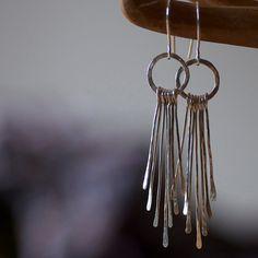 Sterling silver feather earrings Seven hammered by oblissjewellery, $50.00