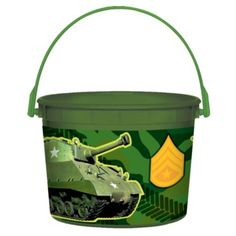 Camouflage Favor Container - Party City - These will be perfect for the plants for the centerpieces.  $1.49