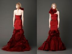Vera Wang, Spring 2013, crimson strapless mermaid gown w/ hand-draped bodice and inverted flange skirt w/ embroidered crystal wheat detail