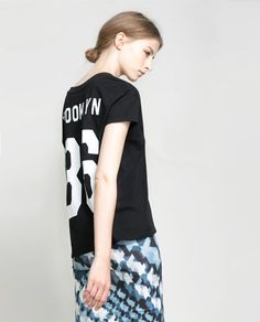 T - SHIRT WITH NUMBER ON THE BACK - T - shirts - TRF | ZARA Thailand