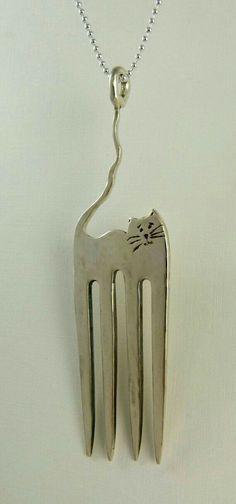 Cut Fork Cat Pendant