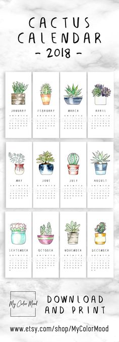 Modern cactus calendar 2018 for all the succulent lovers! These small printable calendar pages will be an original decor accent for your home or office! HOW TO USE THIS CALENDAR? 1) Use a washi tape to stick it to the wall 2) Use a magnet & put it onto a magnetic board 3) Use a pin & pin it on a cork board 4) Use a clothespin, hang it on a string and make a hanging calendar 5) Use a clip to hold all the pages together and use it as a desk calendar