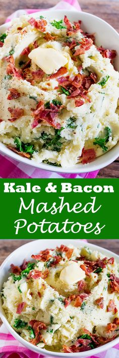 Buttery Kale and Bacon Mashed Potatoes makes a great side dish - or even a meal in itself! Perfect as a side dish for Christmas or Thanksgiving. Potato Side Dishes, Best Side Dishes, Healthy Side Dishes, Vegetable Side Dishes, Vegetable Recipes, Healthy Sides, Potato Recipes, Savoury Recipes, Great Recipes