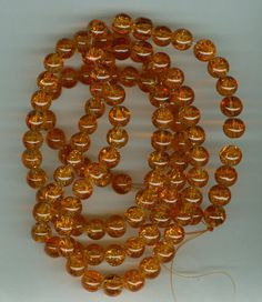 8mm Orange Crackle Glass Round Beads Long Strand by RockNBeads, $4.00