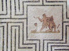 Teseo y el Minotauro. Mosaico romano. Se encuentra en el Museo del Bardo en Túnez. Letranías: La casa de Asterión.