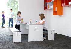 Kolekcja Riva Kids to funkcjonalne meble z bardzo wytrzymałego materiału hpl. Łatwe do utrzymania w czystości.