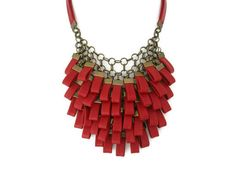 Red Leather Cluster Statement Necklace Leather Jewellery by SartoJ, £110.00