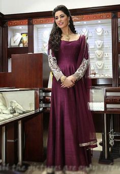 Nargis Fakhri Satin Thread Work Purple Plain Semi Stitched Bollywood Style Suit - 15TM at Rs 2524