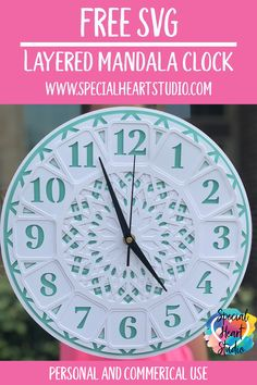 Free layered mandala clock SVG and assembly instructions. Make a beautiful clock your electronic cutting machine, Cricut, Silhouette or laser cutter. Free Svg Cut Files, Svg Files For Cricut, Make A Clock, Silhouette Cameo Tutorials, D House, Cricut Creations, Cutting Files, Die Cutting, Svg Cuts