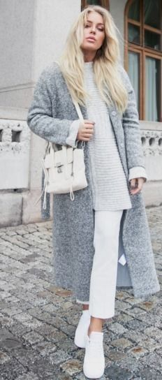 Gray Oversized Coat, Gray Oversized Sweater, White Shoulder Bag, White Crop Trousersn White Sneakers | White and Gray Casual Chic Winter Street Style | Angelica Blick