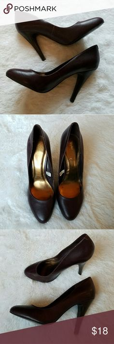 """{Mossimo} Raisin Purple Pumps Chic, classic dark eggplant purple pumps. Excellent pre-loved condition. No real flaws or scuffs that I see.  Approx. 4"""" heel. Surprisingly very comfortable due to the moldable, moveable soft faux leather.  I offer 20% off all bundles! Mossimo Supply Co. Shoes Heels"""