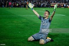 Brazil's goalkeeper Marcelo Grohe celebrates after his team defeats Argentina's Lanus during the Copa Libertadores 2017 final football match at Lanus stadium in Lanus, Buenos Aires, Argentina, on November 29, 2017. Gremio won 2-1 to become the champion of the Copa Libertadores 2017. /