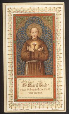 Rare  Saint Pascal Baylon antique belgian  holy card goldprint