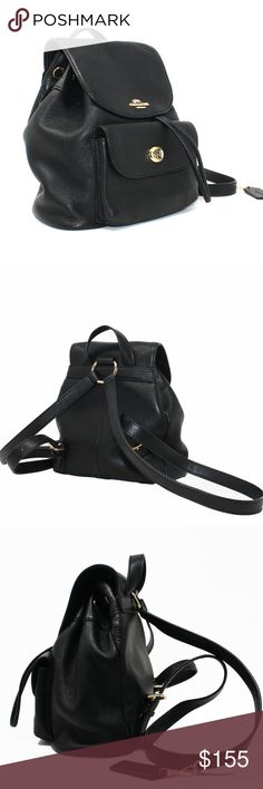 I just added this listing on Poshmark: Coach Billie Backpack 37621 Black Pebbled Leather. Cheap Coach Bags, Black Pebbles, Coach Handbags, Pebbled Leather, Shoulder Straps, Handle, Drop, Backpacks, Closure
